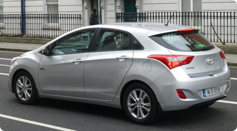 Hyundai i30 - popular hire car in Ireland