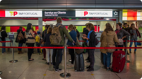 TAP Customer service desks at Lisbon Airport