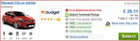 Warsaw Airport car hire - Cartrawler offer